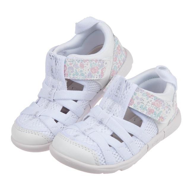【布布童鞋】日本IFME白色和風花繪兒童機能水涼鞋(P1E601M)