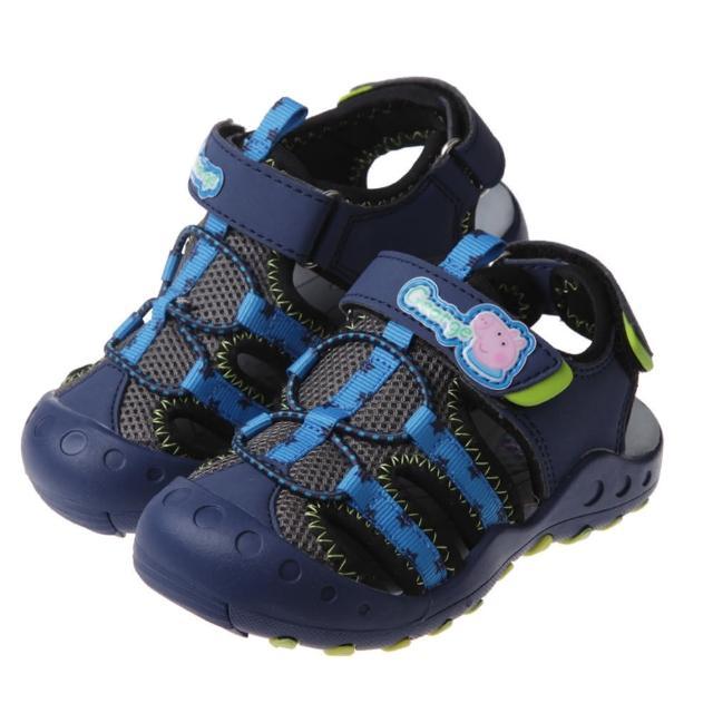 【布布童鞋】粉紅豬小妹喬治豬藍色兒童透氣運動護趾涼鞋(A1C566B)