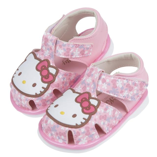 【布布童鞋】HelloKitty凱蒂貓粉色和風花朵寶寶嗶嗶涼鞋(C1D477G)