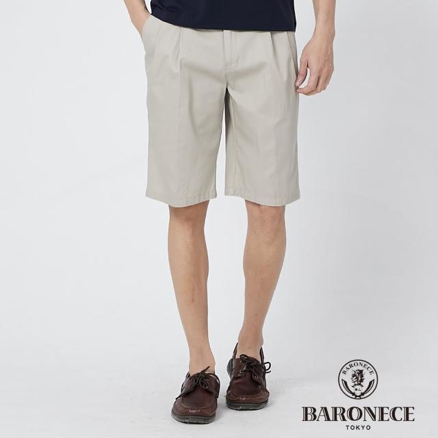 【BARONECE 百諾禮士】男裝 純棉鬆緊腰頭打褶休閒短褲--卡其色(1188968-84)