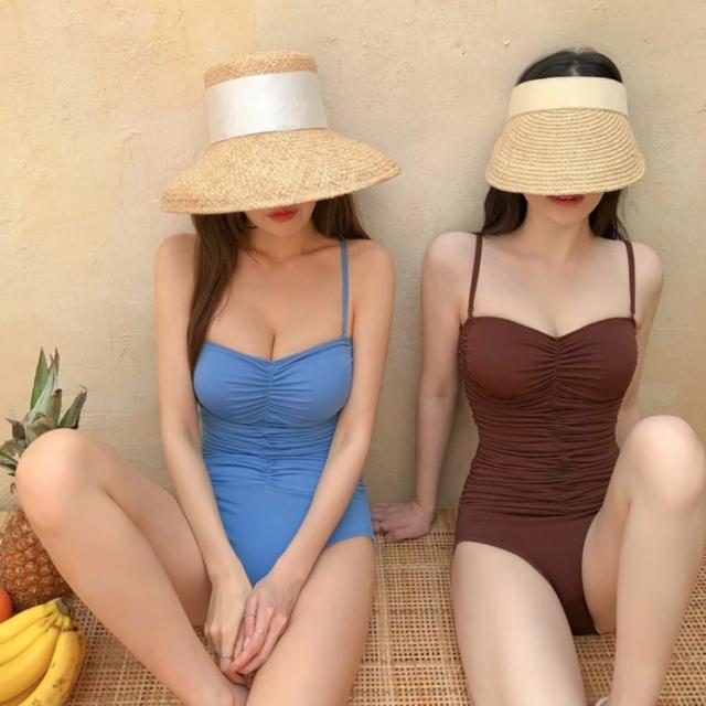 【Eclare & Miel】泳裝 泳衣 激瘦遮肚皺折連身泳裝RCSW0239(三色)