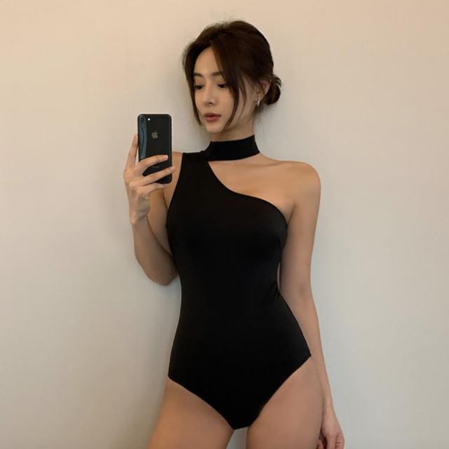 【Eclare & Miel】泳裝 泳衣 韓國純色單肩綁帶露背連身泳裝RCSW0221(二色)