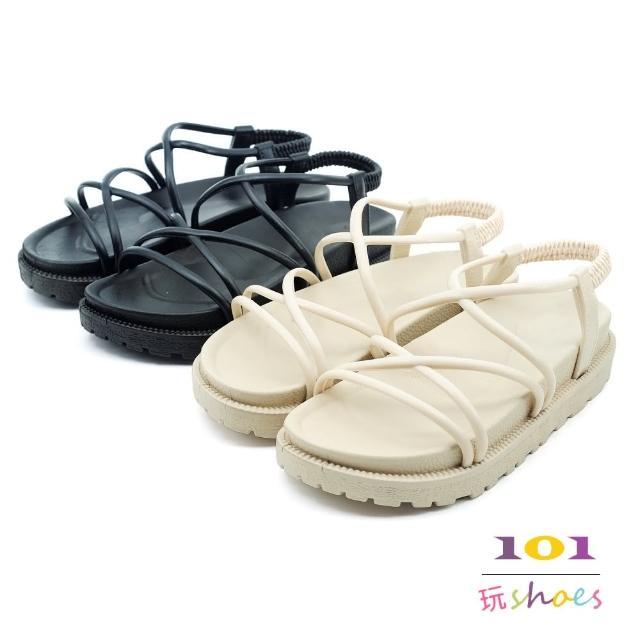 【101 玩Shoes】防水多細帶交叉柔軟平底涼鞋(黑色/米色.36-40碼)