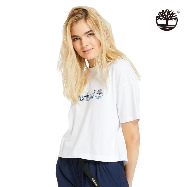 【Timberland】女款白色有機棉點狀線形LOGO短版T恤(A2CWV100)