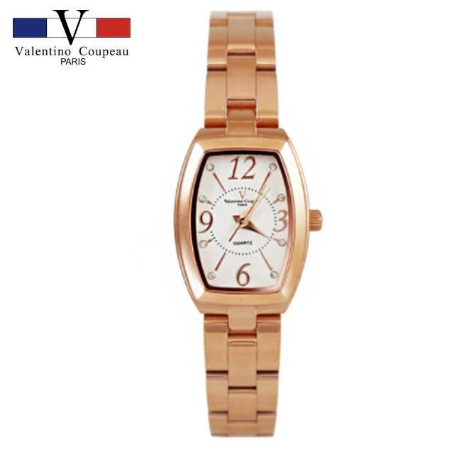 【Valentino Coupeau】范倫鐵諾 古柏 雅緻酒桶實心不鏽鋼殼帶手錶