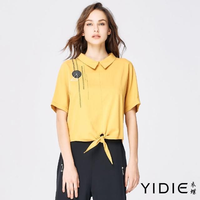 【YIDIE 衣蝶】前綁帶連袖上衣-黃