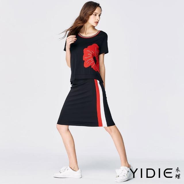 【YIDIE 衣蝶】紅白黑織帶休閒短裙套裝-黑(上下身分開販售)