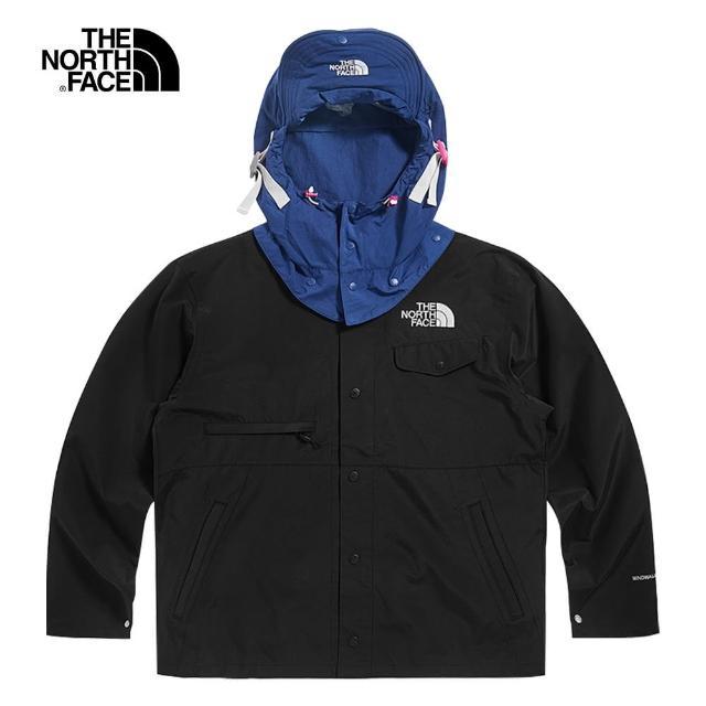 【The North Face】The North Face北面UE男款黑藍撞色可調節連帽防風外套|49D4JK3