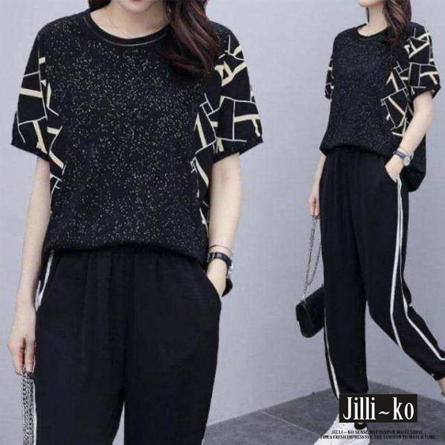 【JILLI-KO】兩件套印花拼接休閒套裝-L/XL(黑)
