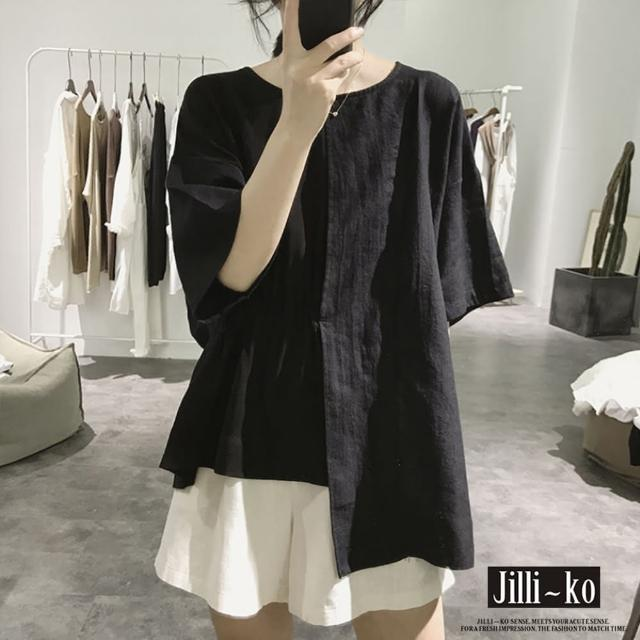 【JILLI-KO】不規則拼接寬版上衣-F(黑/白)