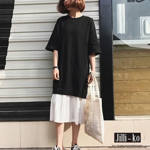 【JILLI-KO】日系假兩件拼接連衣裙-F(黑)
