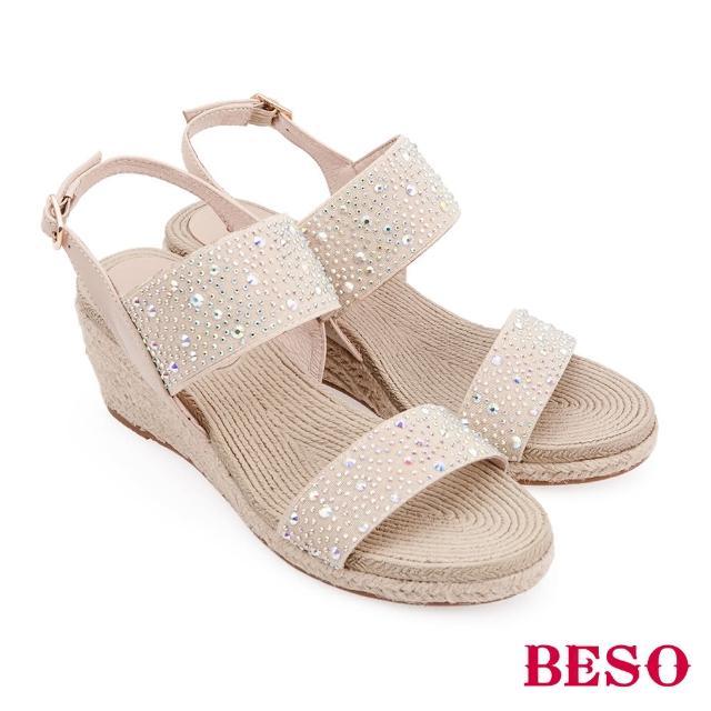【A.S.O 阿瘦集團】BESO 熱情仲夏 七彩水鑽鬆緊帶楔型涼鞋(米)