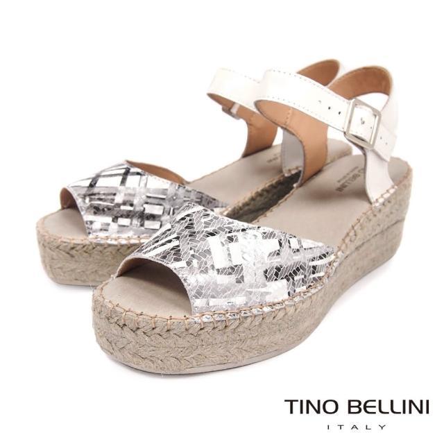 【TINO BELLINI 貝里尼】西班牙進口抽象光束草編楔型涼鞋FOT0008(銀)
