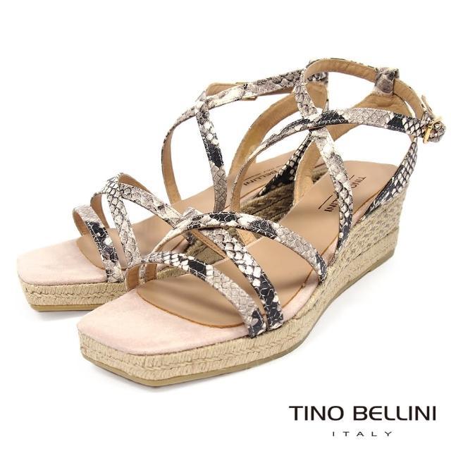 【TINO BELLINI 貝里尼】西班牙進口蛇紋細帶草編楔型涼鞋FNT0007(米白)