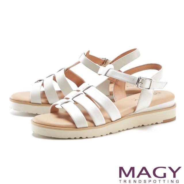 MAGY【MAGY】魚骨簍空真皮厚底 女 涼鞋(白色)