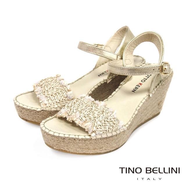 【TINO BELLINI 貝里尼】西班牙進口自然風編織草編楔型涼鞋FOO0010(米白)