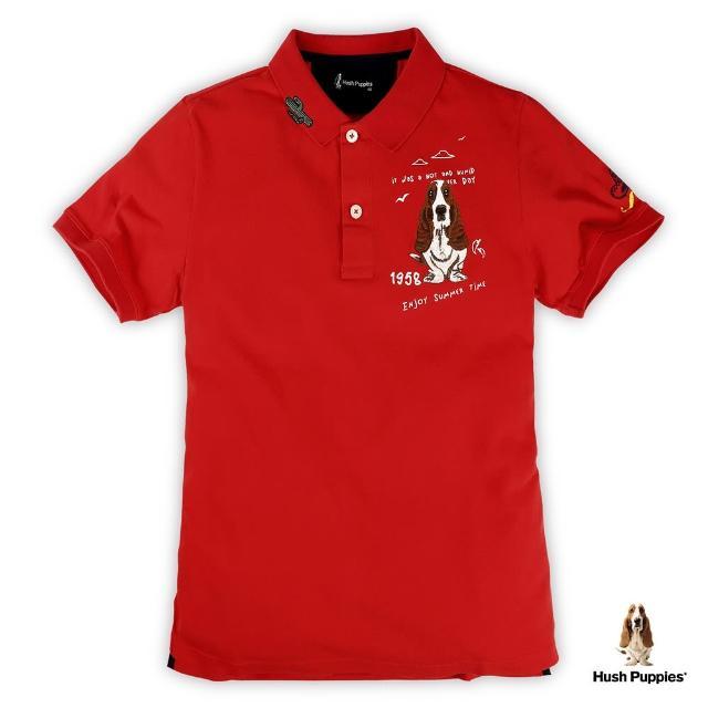 【Hush Puppies】男裝趣味印花刺繡狗短袖POLO衫(紅 / 13101107)