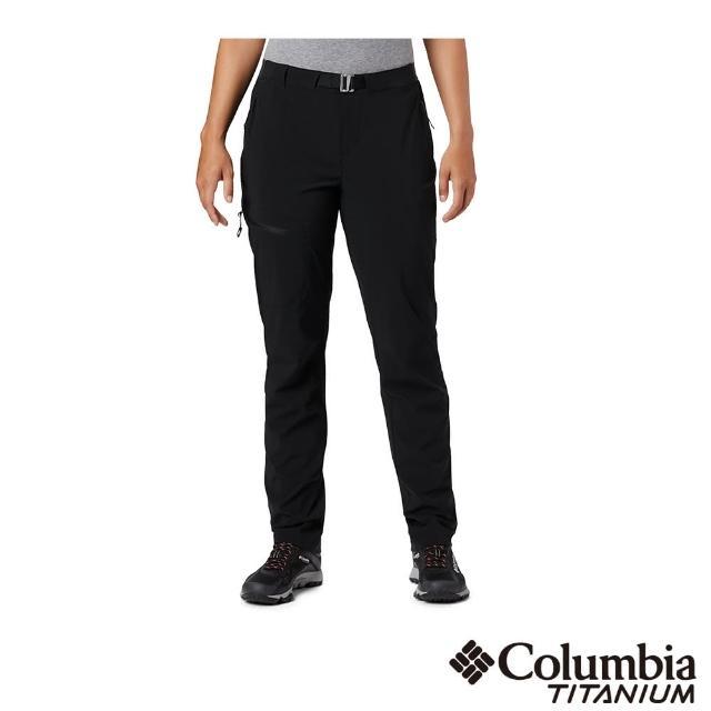 【Columbia 哥倫比亞】女款- 鈦UPF50防潑長褲-黑色(UAR14320BK / 抗UV.防潑水.機能)