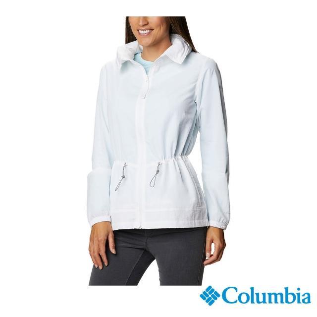 【Columbia 哥倫比亞】女款-UPF50防潑水外套-白色(UWR03690WT / 防曬.防潑.休閒)