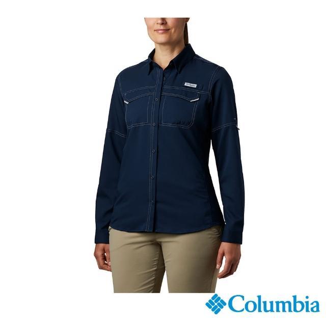 【Columbia 哥倫比亞】女款-UPF40快排長袖襯衫-深藍(UFL10330NY / 快排.防曬.休閒)