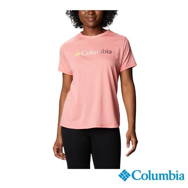 【Columbia 哥倫比亞】女款- UPF50快排短袖上衣-粉紅(UAR21910PK / 快排.運動.戶外)