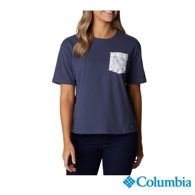【Columbia 哥倫比亞】女款-口袋快排短袖上衣-深藍(UAR31190NY / 快排.運動.戶外)