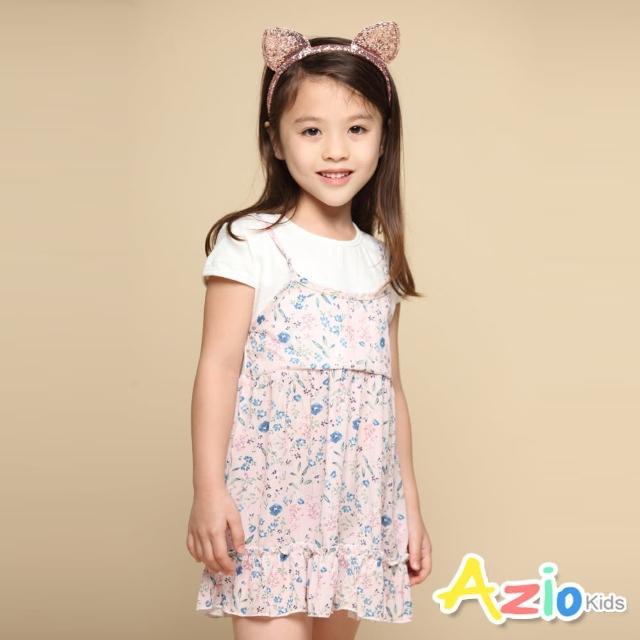【Azio Kids 美國派】女童 洋裝 滿版藍色小花假兩件短袖洋裝(粉)