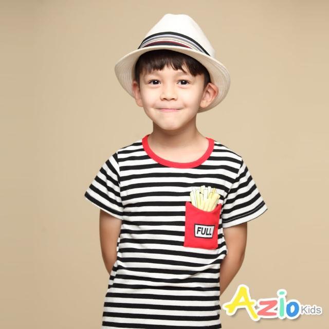 【Azio Kids 美國派】男童 上衣 配色圓領滾邊口袋薯條造型橫條紋短袖上衣T恤(黑)