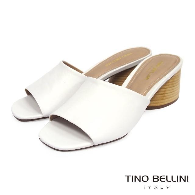 【TINO BELLINI 貝里尼】巴西進口質感羊皮中跟涼拖鞋FST0002(白)