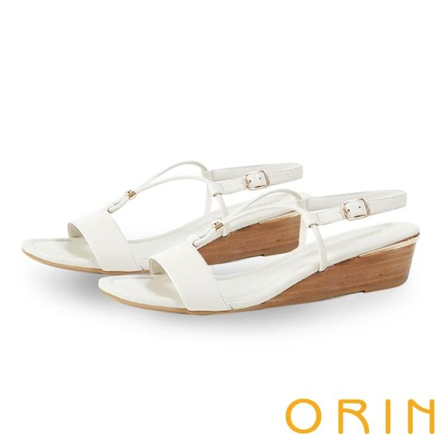 【ORIN】真皮V字金屬楔型 女 涼鞋(白色)