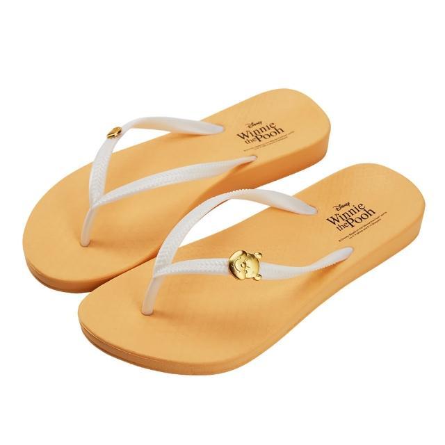 【Disney 迪士尼】迪士尼女鞋 小熊維尼 質感飾釦人字拖鞋-黃(MIT台灣在地工廠製造)