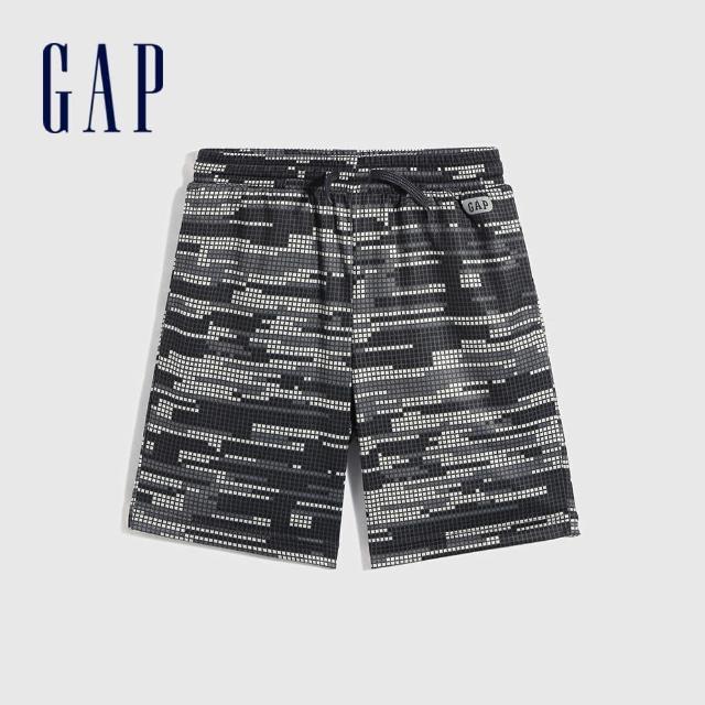 GAP【GAP】男童 Logo鬆緊休閒短褲(683465-藍白印花)