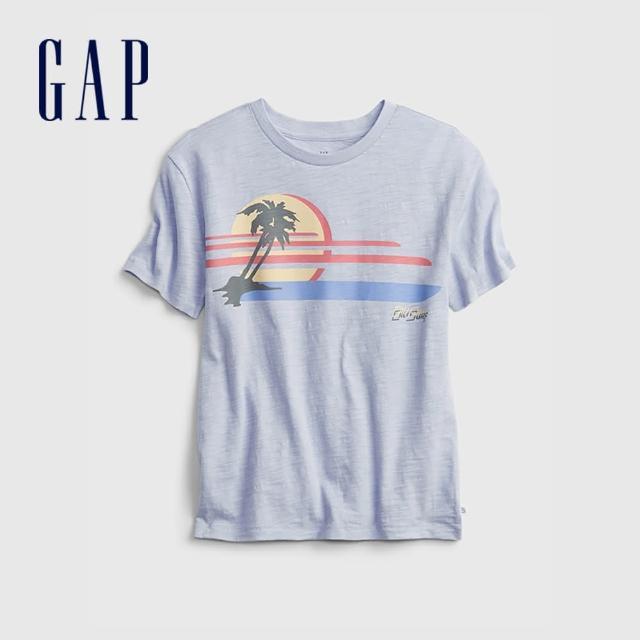 【GAP】男童 趣味印花純棉短袖T恤(689802-淺藍色)