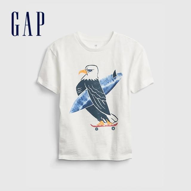 【GAP】男童 趣味印花純棉短袖T恤(689802-白色)