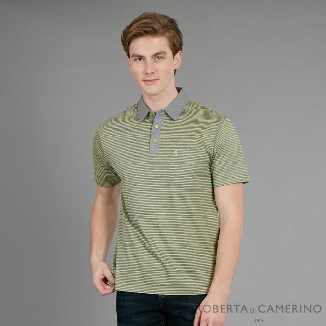 【ROBERTA 諾貝達】台灣製 吸濕排汗 魅力休閒短袖棉衫(灰綠)