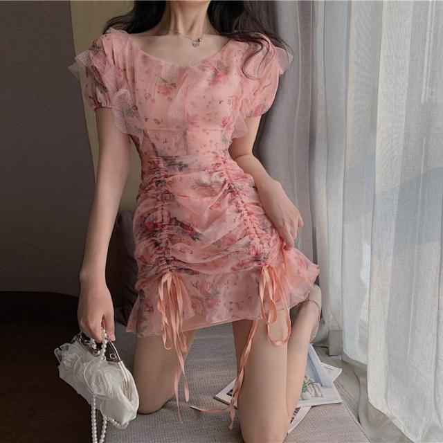 【BBHONEY】法式甜美碎花網紗連衣裙綁帶縮腰洋裝(網美熱搜款)