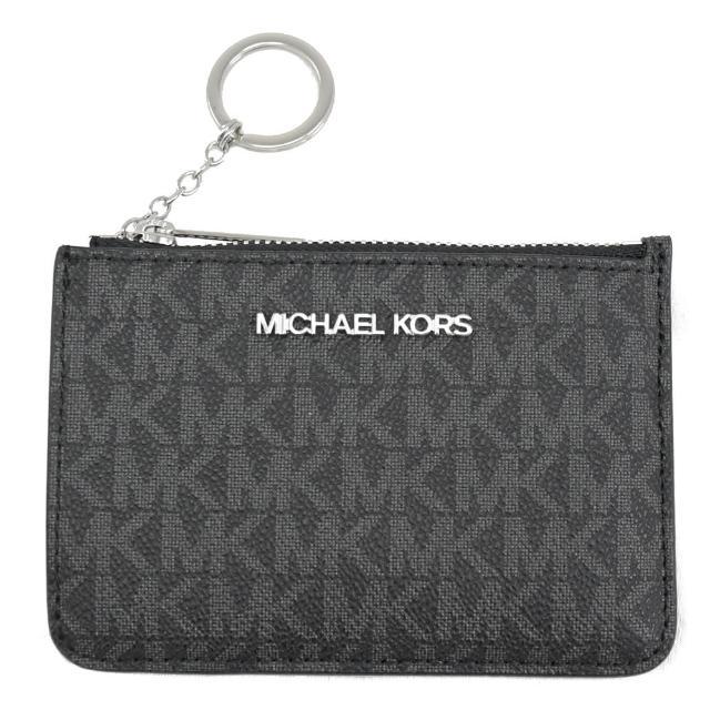 【Michael Kors】經典LOGO信用卡證件鑰匙圈零錢包(黑灰)