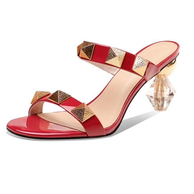 【Sp house】時髦女郎全真牛皮鉚釘露趾水晶跟涼鞋(3色可選)