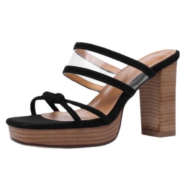 【Sp house】完美線條全真羊皮絨面粗高跟涼鞋(2色可選)