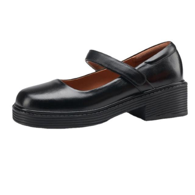 【Sp house】極簡樣式全真牛皮方頭低跟休閒鞋(2色可選)
