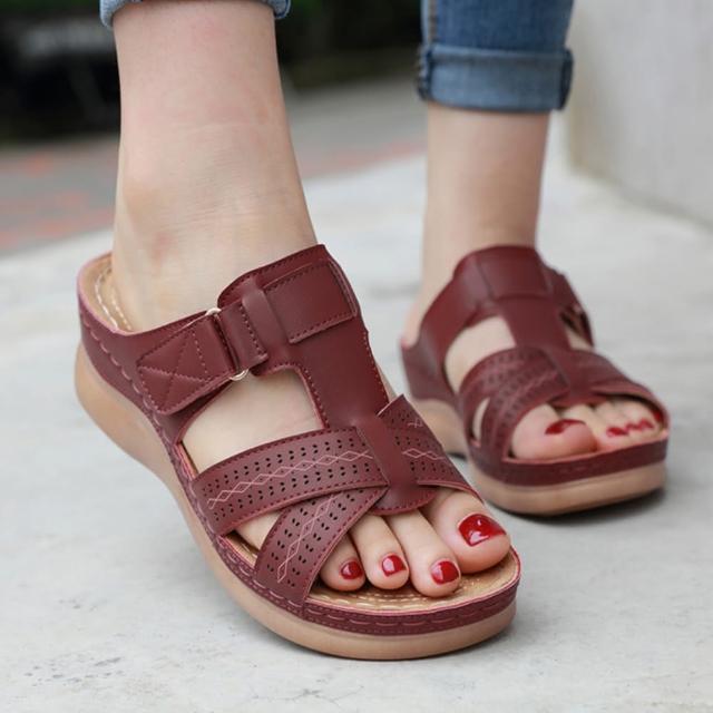 【LN】現+預 歐美風魔術貼坡跟涼拖鞋(拖鞋/涼鞋/休閒鞋)