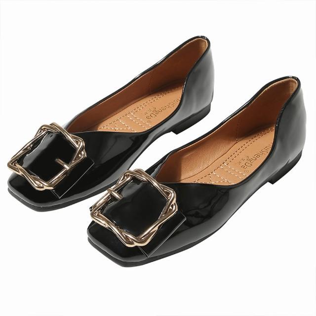 【Taroko】麻花金框方頭平底皮革淺口都會淑女鞋(3色可選)