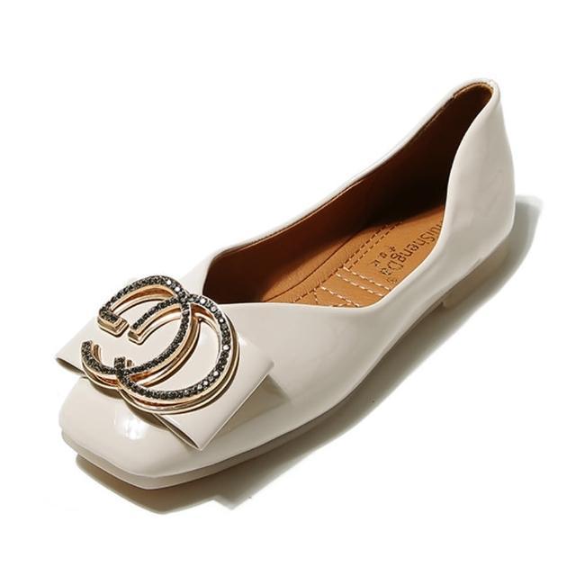 【Taroko】精品雙C方頭平底皮革淺口都會淑女鞋(3色可選)