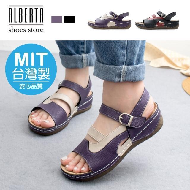 【Alberta】MIT台灣製 3.5cm涼鞋 休閒百搭撞色 皮革厚底圓頭魔鬼氈涼拖鞋