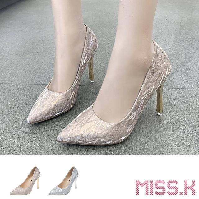 【MISS.K】尖頭跟鞋 高跟跟鞋/閃耀水波紋亮絲布面尖頭高跟鞋(2色任選)