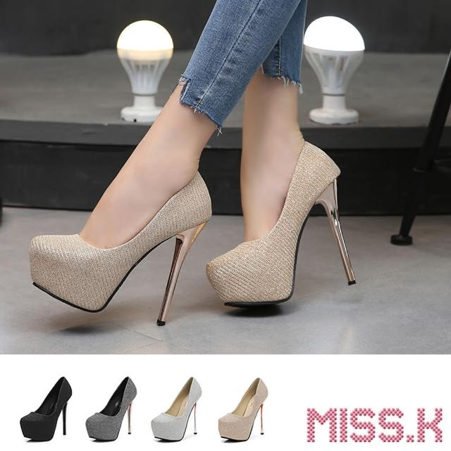 【MISS.K】防水台跟鞋 高跟跟鞋/璀璨金絲亮面織布防水台14CM高跟鞋(4色任選)