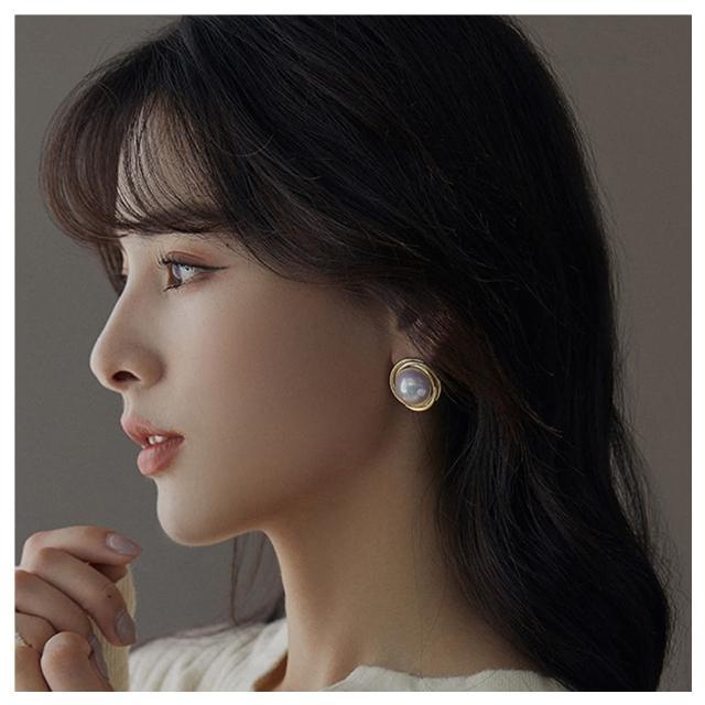【HaNA 梨花】歐美古典光澤大珍珠.復古包邊淨透耳環