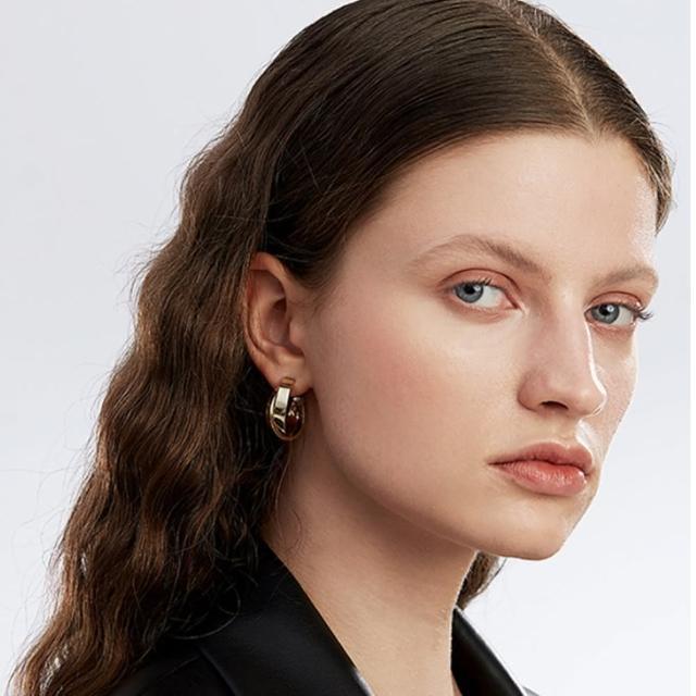【HaNA 梨花】歐美金屬雙層圓型.交錯時空半月耳環