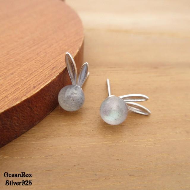 【海洋盒子】可愛小兔子月光石925純銀耳環(925純銀耳環.貼耳耳環)
