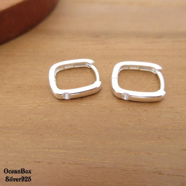 【海洋盒子】細版方形單鑽925純銀易扣針式耳環.素銀色(925純銀耳環.圈圈耳環)